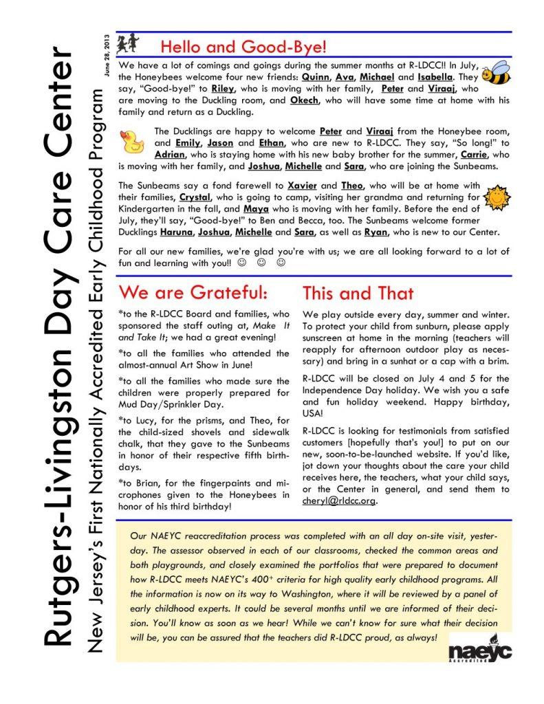 R-LDCC Newsletter July 2013